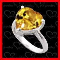 Wholesale big yellow topaz stone heart shaped 925 silver ring jewelry