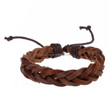 Fashionable design brown color high quality genuine leather braided bracelet