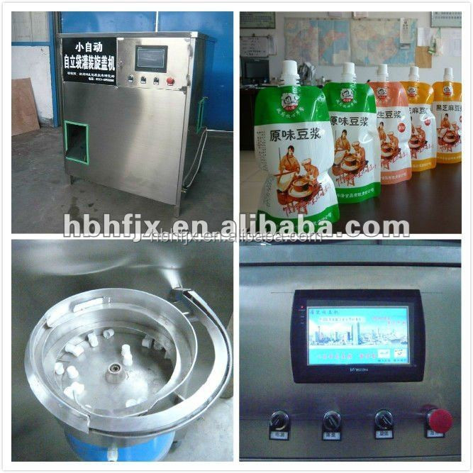 semi automatic soy bean milk in Doypack filling capping packaging machine