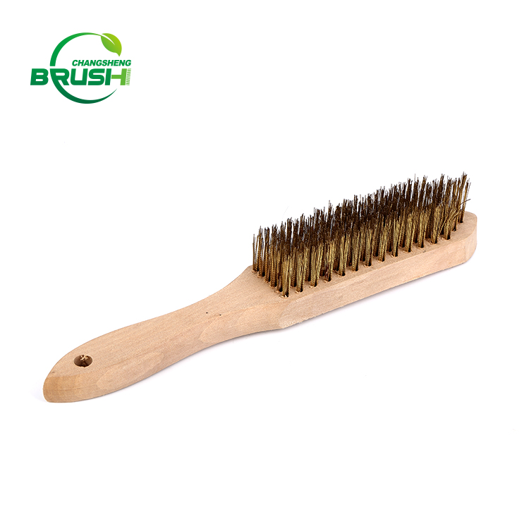 Portable Wooden handle Machine rust cleaning steel wire brush