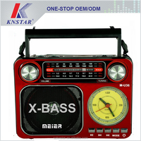 Portable rechargeable AM FM radio with clock