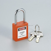 38mm short hardened steel shackle nylon lock body keyed to differ abs safety padlock