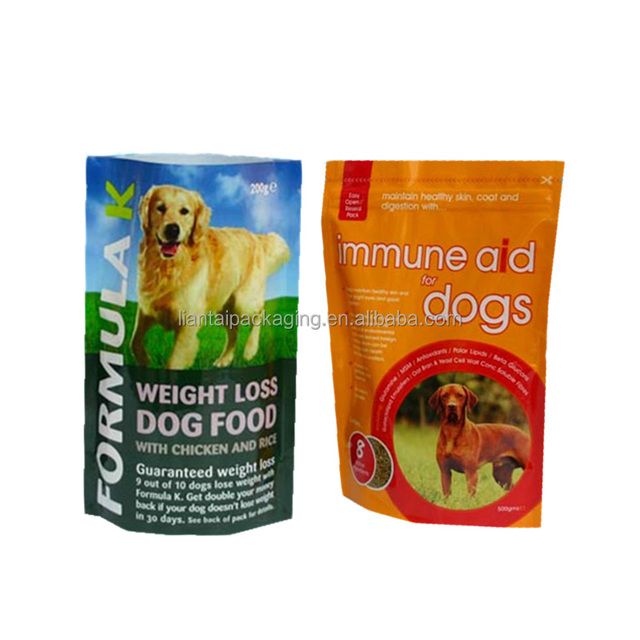 Colorful packaging limited plastic standing up pet food wholesale bulk dog food bag