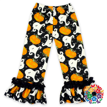 Baby Pumpkin And Ghost Milk Silk Pants Soft Material Kids Ruffle Pants Wholesale Baby Girls Halloween Ruffle Pants