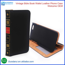 Vintage Bible Book Wallet Leather flip case pouch for iPhone 7 OEM Leather factory