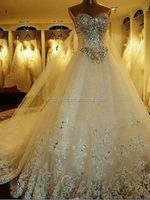 2014 Real sample Cheap price full crystal heavy beaded luxurious wedding dresses #OW157