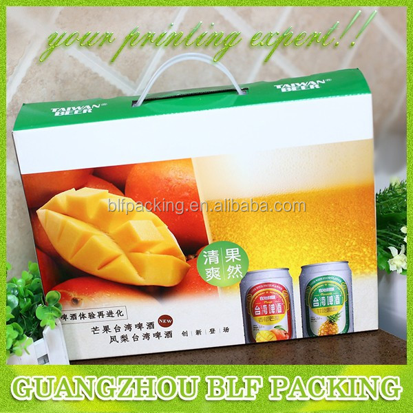 (BLF-PBO520)white card paper mount corrugated full color printing po handle for beer packaging box