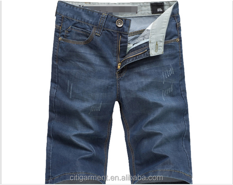 (stock)Fashion scratch leisure pants 5s short straight men jeans