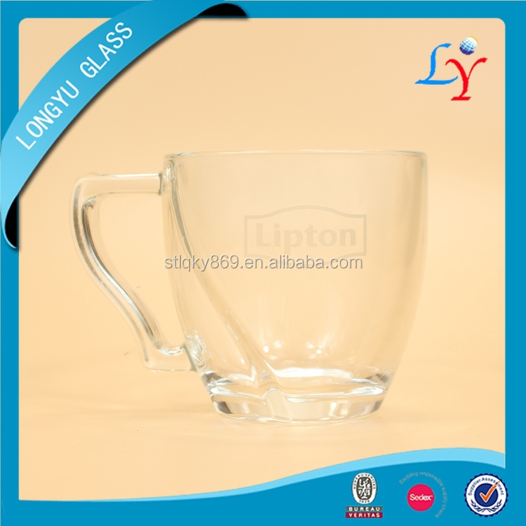 promotional glassware gift lipton glass cup for ice tea lipton glass mug with handle