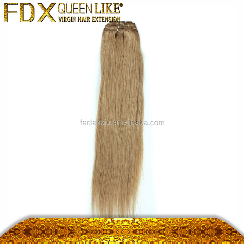 #27 dark blonde clip in hair extensions private label can be customized European straight hair