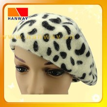 Fashion angora knitting winter beret hat with all over animal print