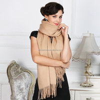 Top Grade Solid Color Long Wool Shawls Cashmere Scarf Women Winter Thicken Tassels Cape - Khaki