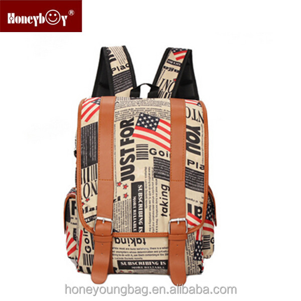 Cool canvas backpack news paper US flag pattern