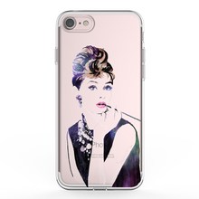 IKF Movie Star Animation Characters Audrey Hepburn Printing Design Clear Transparent Soft TPU Mobile Cover For Iphone 8
