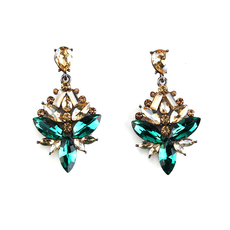 2016 New HOT SALE High quality colorful statement crystal stud Earrings latest design girls top earrings 51311