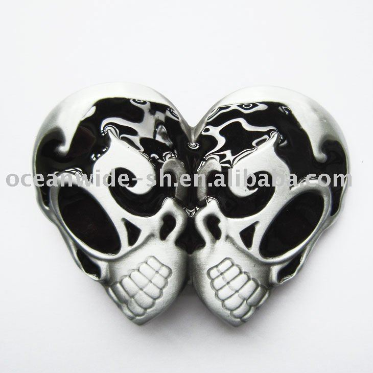 Belt Buckle (Black Emo Tattoo Gothic Double Skulls)