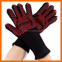 932F Extreme Heat Resistant Non Slip Silicone Grip BBQ Gloves for Grilling, Baking, Cooking, Camping