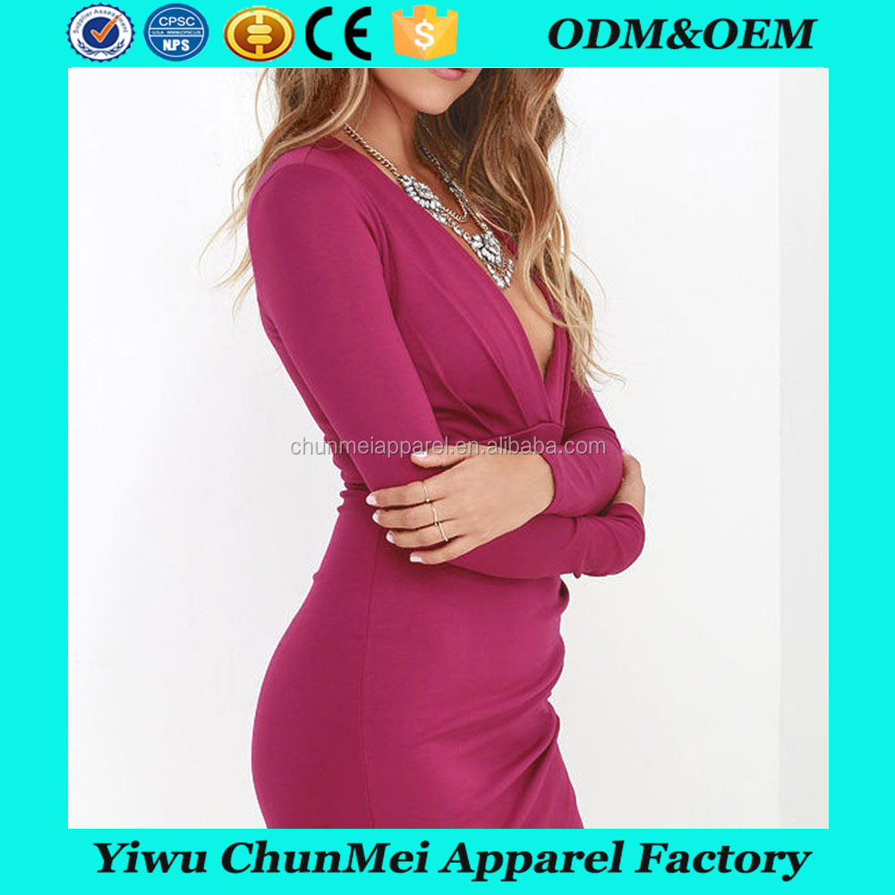 Mature Women Sexy Clubwear Long Sleeve Fitted Short Mini Dress
