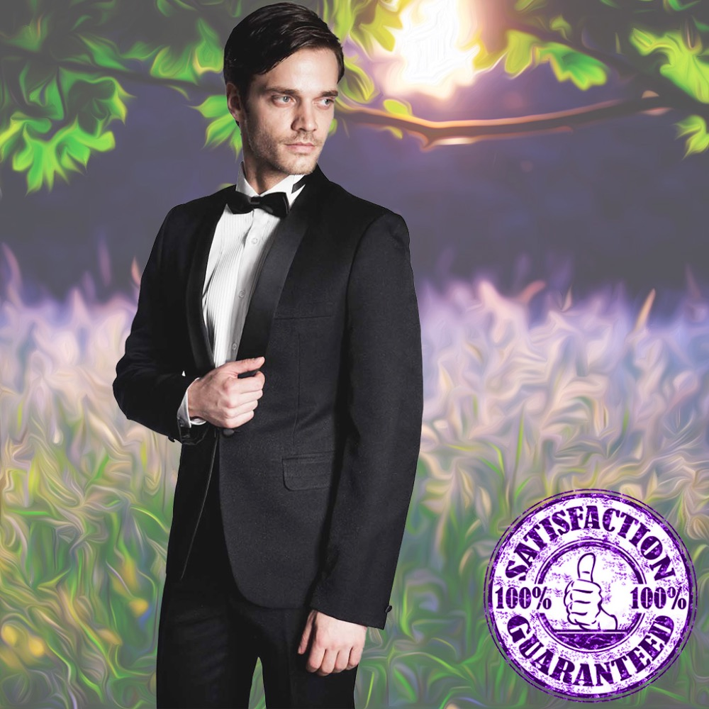 Fashion Up-to-date Gowns Wedding Black Polyester Slim Fit Man Suit