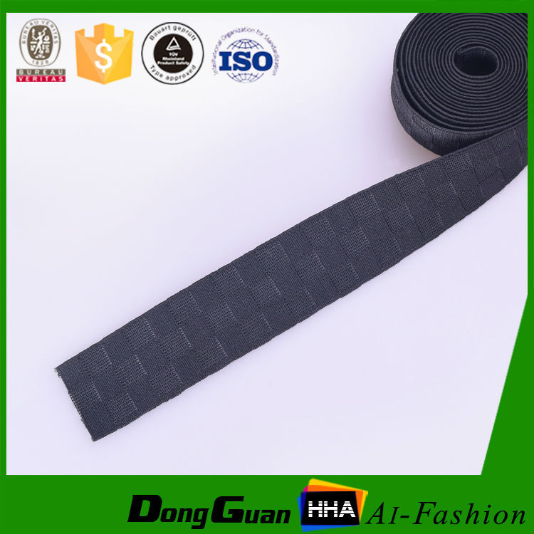 2017 hot selling black polyester heavy duty elastic webbing