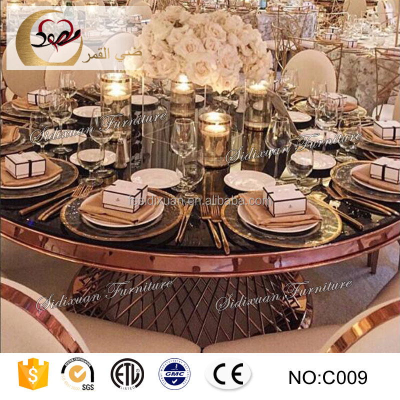 large round mirror glass top stainless steel banquet tables for reception