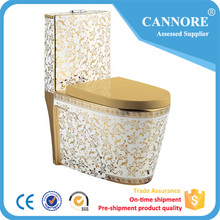 One Piece Sanitary Wares WC Ceramic Plating Gold Color Toilet