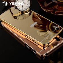 Luxury aluminum bumper metal mirror case back cover for sony xperia z2