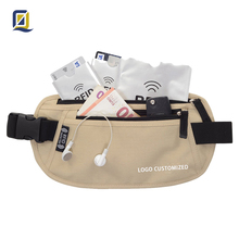 Amazon Medium quality RFID blocking Travel Money Belt 600D Poly Security and anti-theft passport holder waist bag