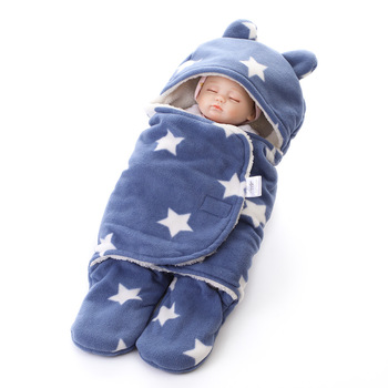 Soft Warm Separated Legs stripy Baby Sleeping bags Thick Fleece Swaddling Blankets