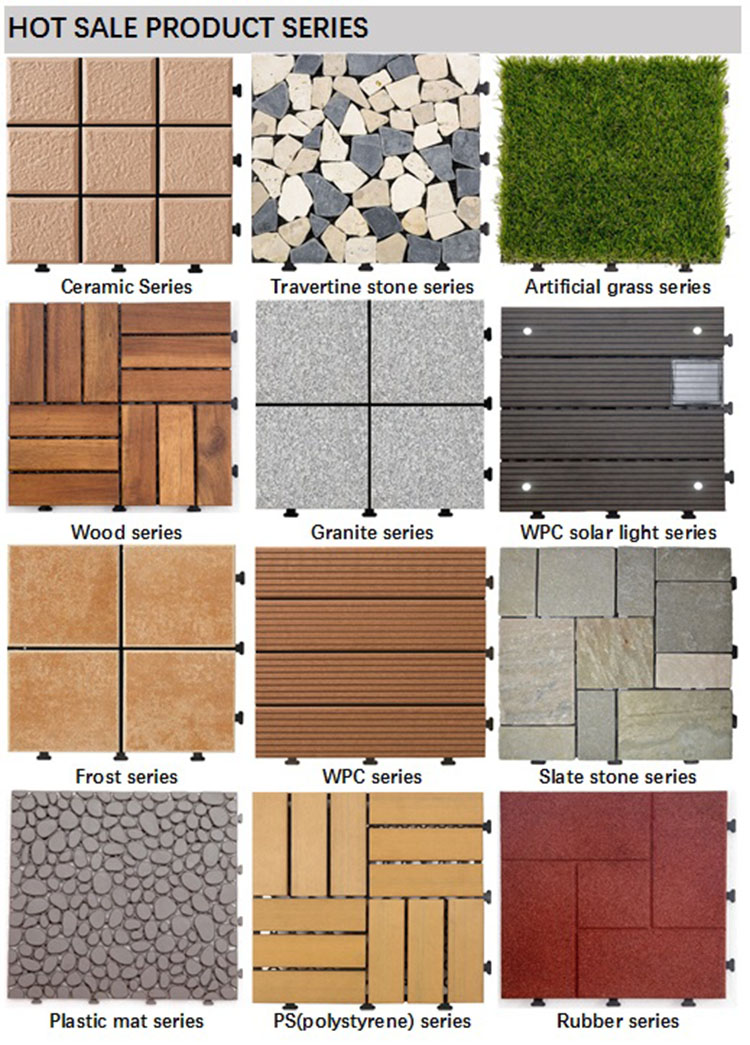 WPC interlocking outdoor floor with PE base