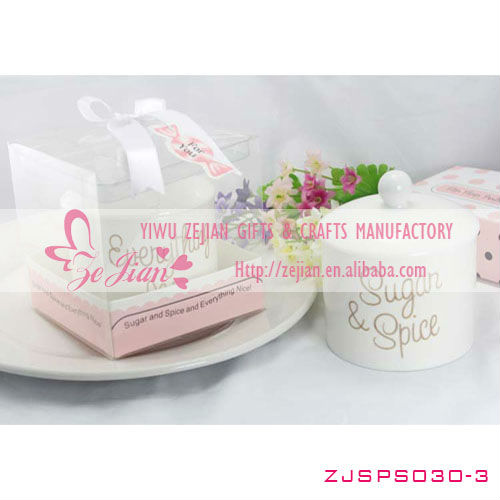 """Sugar, Spice & Everything Nice"" Ceramic Sugar Bowl Wedding Favors"