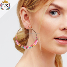 ELX-00034 simple design fancy gold palting acrylic colourful seed bead custom alloy hoop earrings for party