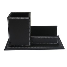 Office Stationery Leather Name Card Stand Pen Holder