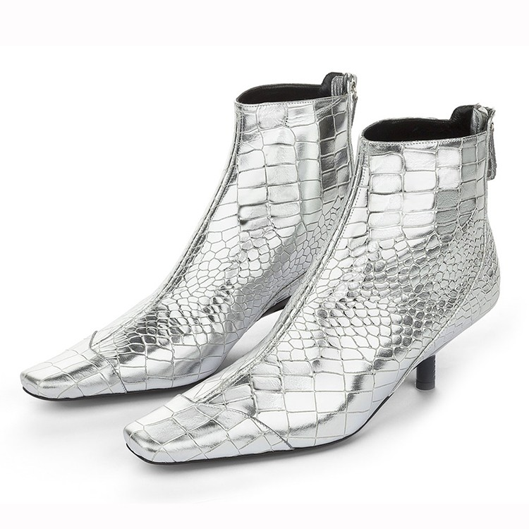 snake skin high heel are square toe shoes in style with women boot