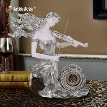 Electroplated gold color beauty artificial sculpture angel with time clock special for home decor