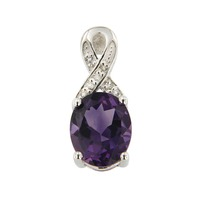 Natural Amethyst 7*9 Oval Pendant in Silver nice design and fine silver Nickle and led free.