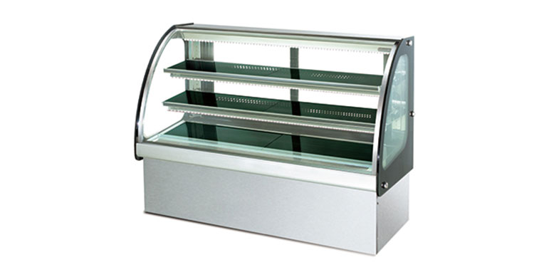 SS Base Curved Glass Showcase cake display cabinet 2 Shelves