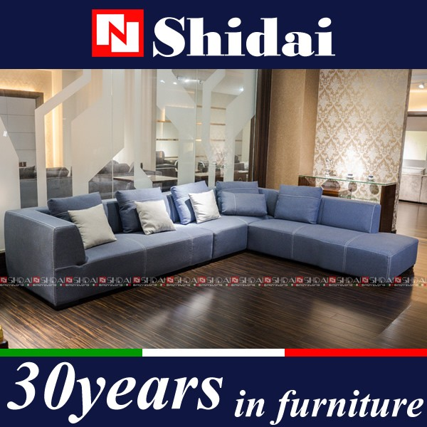 2016 Latest New L Shaped Sofa Designs Linen Fabric Sofa