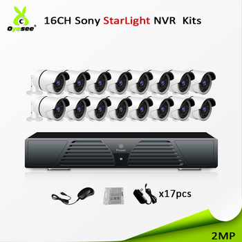 New developed hd 16ch cctv bullet 2mp 1080p hi3516 nvr kit combo vision night 30m p2p free onvif easy installation