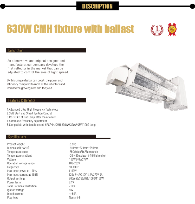 HORTIKING Indoor Hydroponics CMH 630W DE Grow Light Reflector