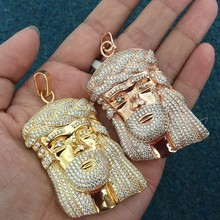 CZ Iced Out Simple Gold Jesus Piece Pendant Design