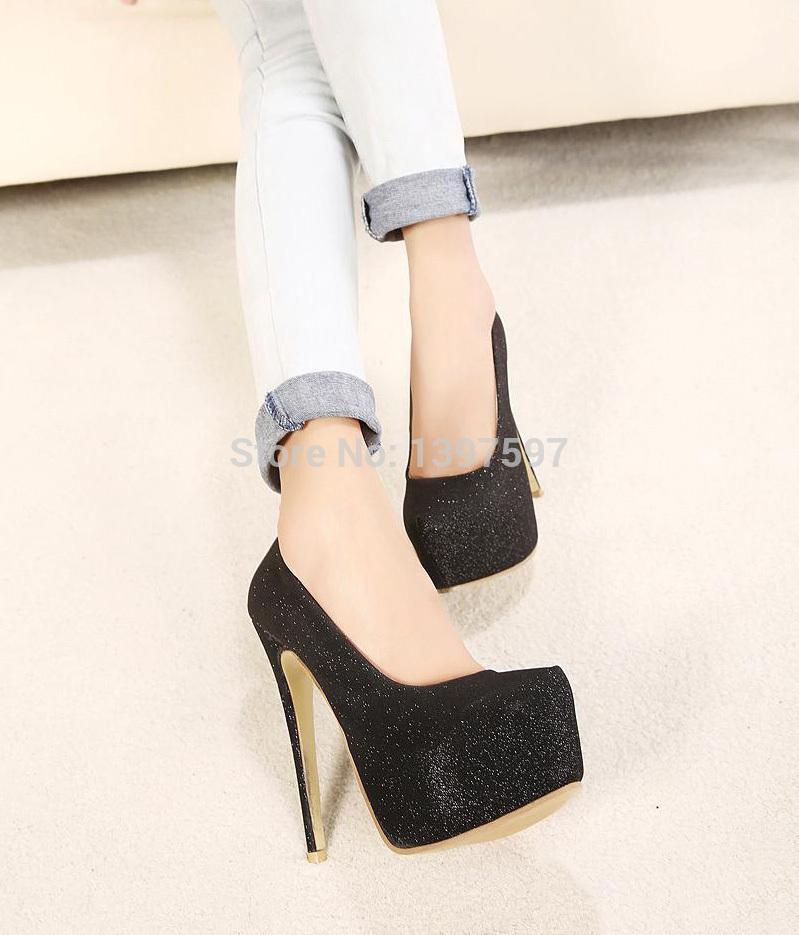 a3c9d081a49a Get Quotations · 2014 new BLACK PU pump EXTREME high HEEL 15cm high heel  5cm platform women shoes Patent