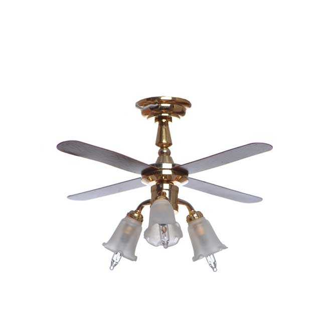 1 :12 Scale Dollhouse Miniature 3 Tulip Drop Lighting Fixture, Ceiling Fan Lamp With 4 Blades QW23016