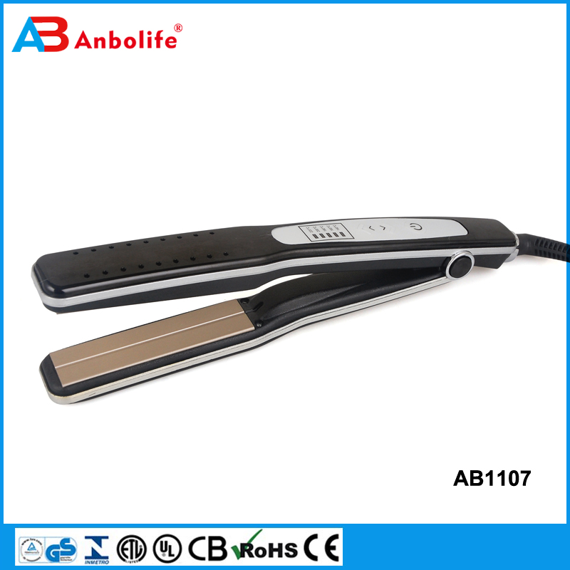 Anbo Cheap LED Display Ceramic Portable Mini Travel Hair Straighener