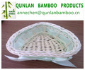 Lightweight high quality oval bamboo basket with heart shape