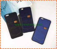 For iPhone 6 Phone Case Fashion Jeans Pattern Flip Leather Case For iPhone 6s Plus Pocket Card Slots Cover
