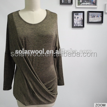 Less Odor Fashion Lovely Women Wool T-shirt For Daily Wearing