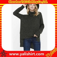 Wholesale winter wear cheap bulk 100%cotton plus size turtleneck short front long back knitting sweater women