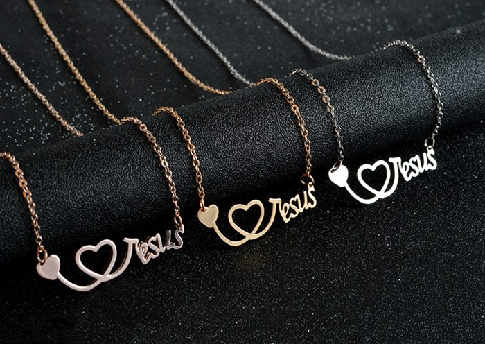 Gold/Silver/Rose Gold Script I Love Jesus Heart Necklace for Women