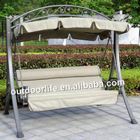 Outdoor three seat swing, garden swing chair, patio swing with canopy